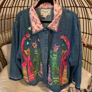 Tantrums Cat Appliqué Vintage Jacket - 2x